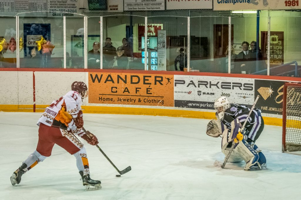 Hunter Johnson had backup goalie Conor Webb all to himself on a breakaway in the second period Wednesday. He scored the Coyotes' fifth goal in their 7-0 victory over the North Okanagan Knights. (Richard McGuire photo)