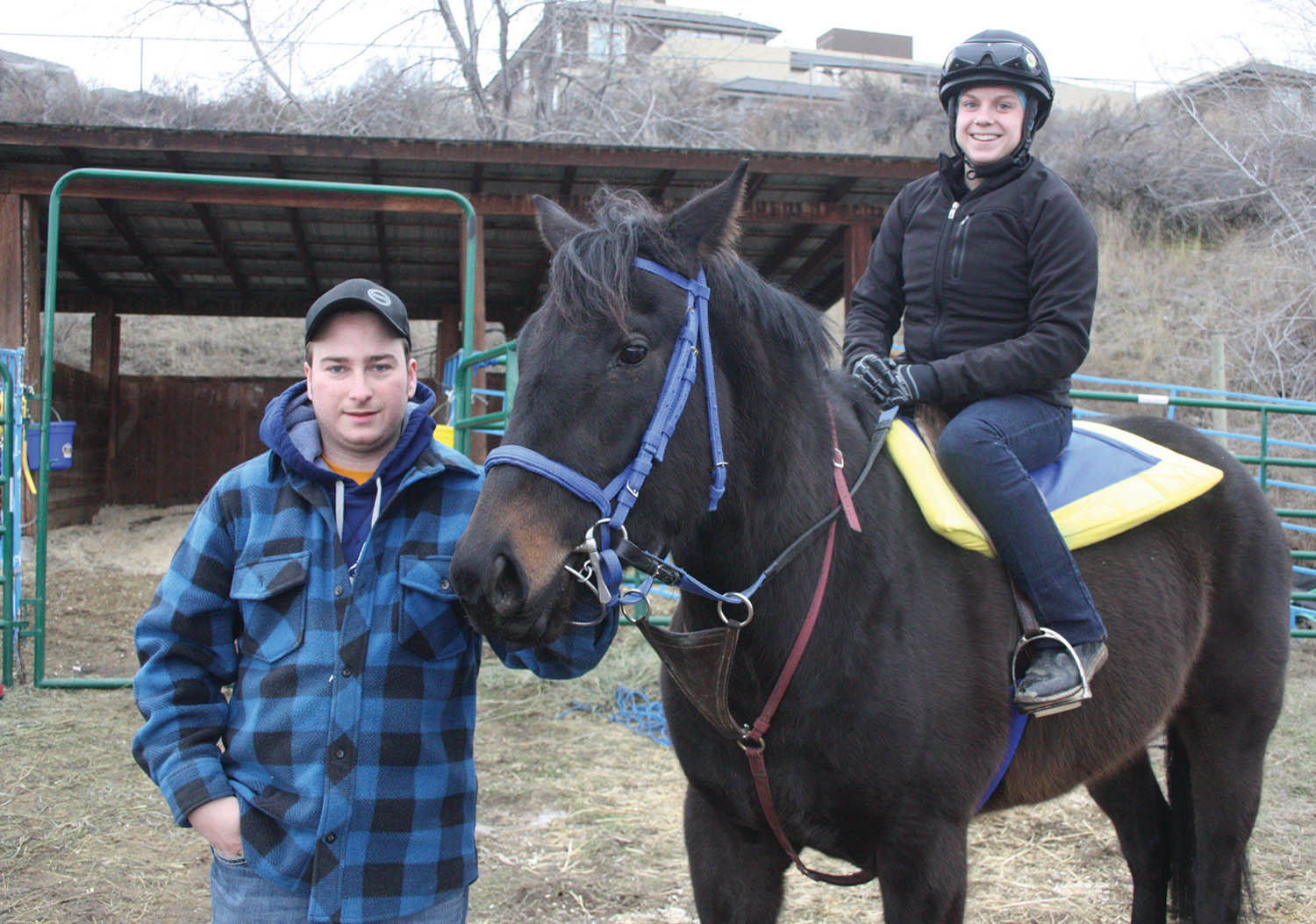 Saskatoon's Isabelle Chloe Wenc, 21, recently left Osoyoos and the Desert Park horse training facility to head to Edmonton, where she will compete as a professional jockey at Northlands Racetrack. Chloe-Wenc is seen with her boyfriend and trainer Colin Ganter. (Keith Lacey photo)