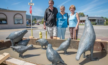 Three local artists create quail sculpture for lawn in front of Osoyoos Art Gallery