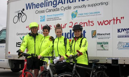 CYCLING FAMILY MAKES QUICK STOP IN OSOYOOS AS PART OF THEIR CROSS-COUNTRY JOURNEY
