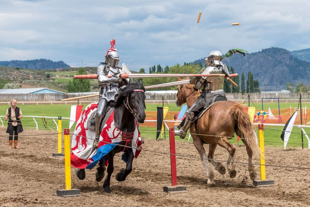 Stephane Tremblay (left) and Ripper Moore did battle with lances as they met and lance fragments flew through the air. On the May long weekend, the Society of Tilt and Lance Cavalry (STALC) from the Calgary area held a medieval jousting event at Desert Park. (Richard McGuire photo)