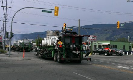 Road work taking place in downtown Oliver