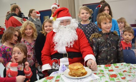 Santa surprised with pile of pancakes for breakfast