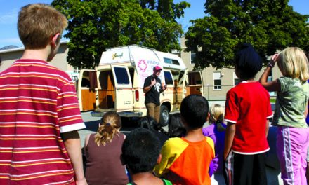 OSOYOOS ELEMENTARY SCHOOL PAID SPECIAL VISIT BY TERRY FOX VAN AND FOX'S BROTHER
